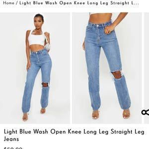 Open Knee Straight Leg Jean